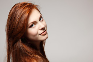 teenager girl beautiful red hair cheerful enjoying